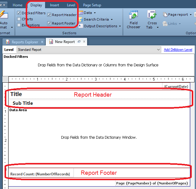 Edit report, select Display tab in ribbon, options for Report Header and Report Footer are available