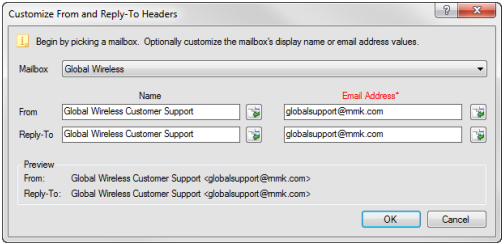 Edit mailing, select Message tab, click Edit link next to From address.  The Customize From and Reply-To Headers window will open.