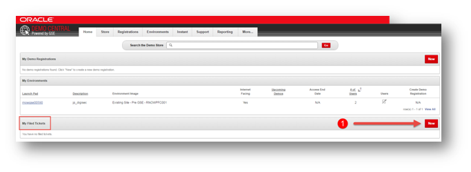 "In the ""My filed"" Tickets section of the page click the ""New"" button to start your B2C Service request."