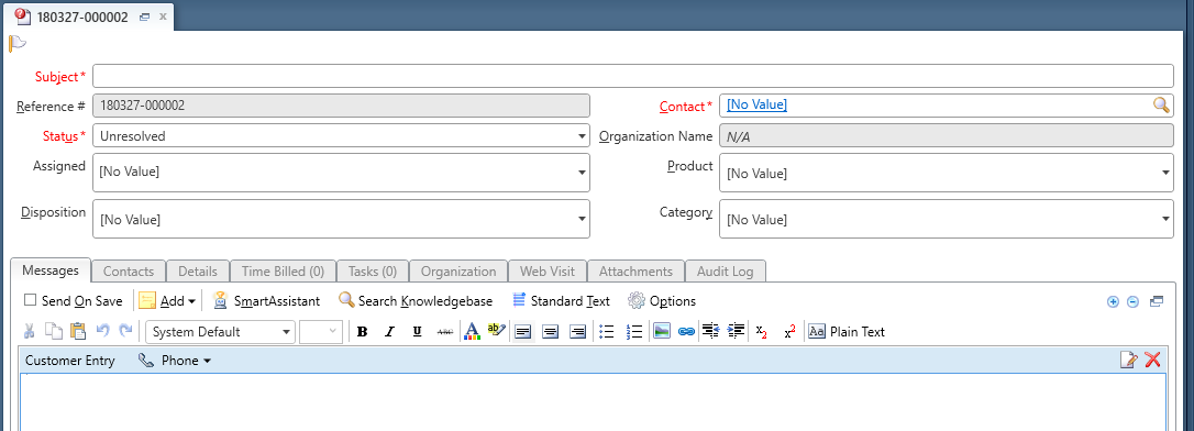 Example view with option disabled shows incident details in a summary panel of the workspace and all other details are in sub-tabs