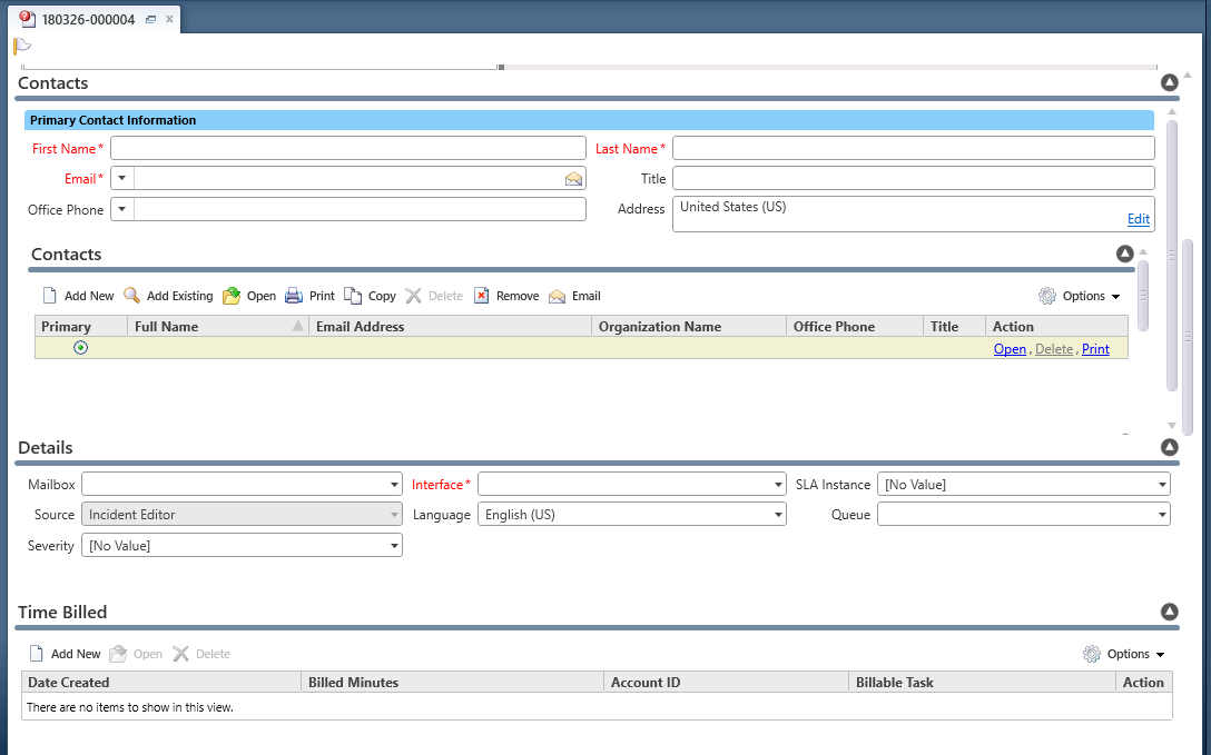 Example of agent's incident workspace showing all details, Contact information, incident details and Time Billed