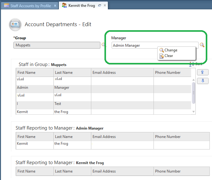 Right click on the Manager field and select Clear