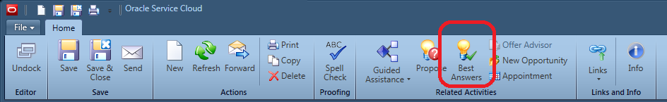 Incident workspace ribbon, click the Best Answer button