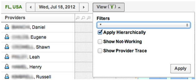 Time View screen > View > option 'Apply Hierarchically' is checked