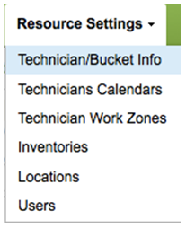 Resource Settings Tab > Technician/Bucket info