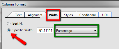 Column Format, Width sub-tab, select Specific Width and change the drop down to the measure you wish