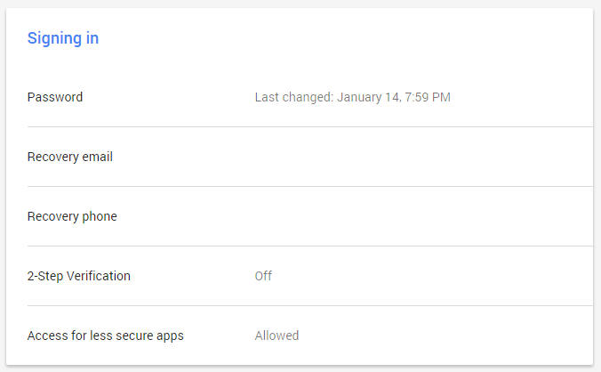Make sure the 'Access for less secure apps' option is set to 'Allowed'
