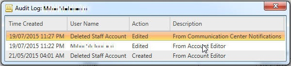 Audit Log shows Deleted Staff Account edited from Communication Center Notifications