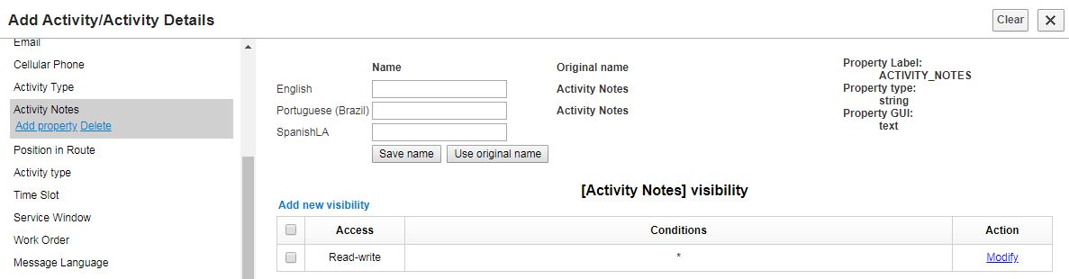 Add Activity/Activity Details screen. Add the property on the left side