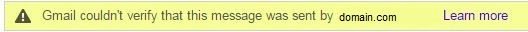 Gmail couldn't verify that this message was sent by <domain.com>
