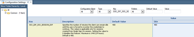 Configuration --> Site Configuration --> Configuration Settings --> type the SSO_IDP_SSO_SESSION_EXP setting in the Key field