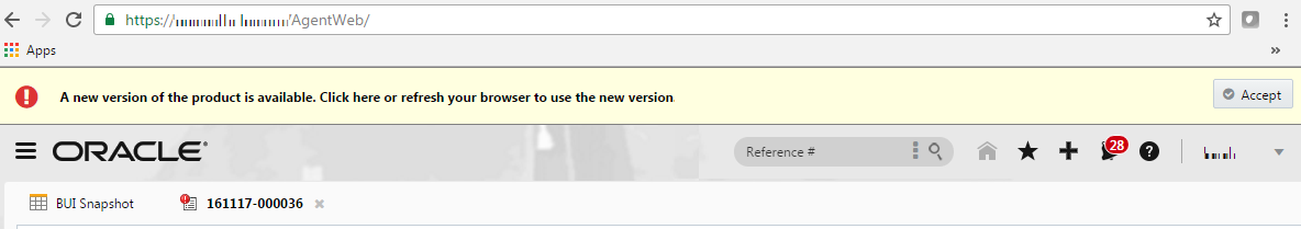"Alert appears at the top of the BUI console stating, ""A new version of the product is available. Click here or refresh your browser to use the new version."""