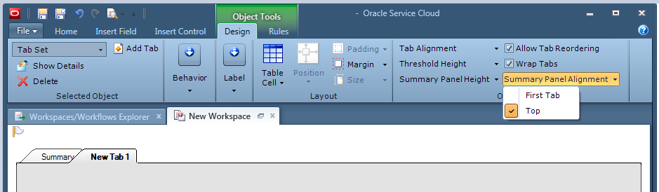 Workspace editor > edit workspace > Design ribbon > Option > Summary Panel Alignment > click Top