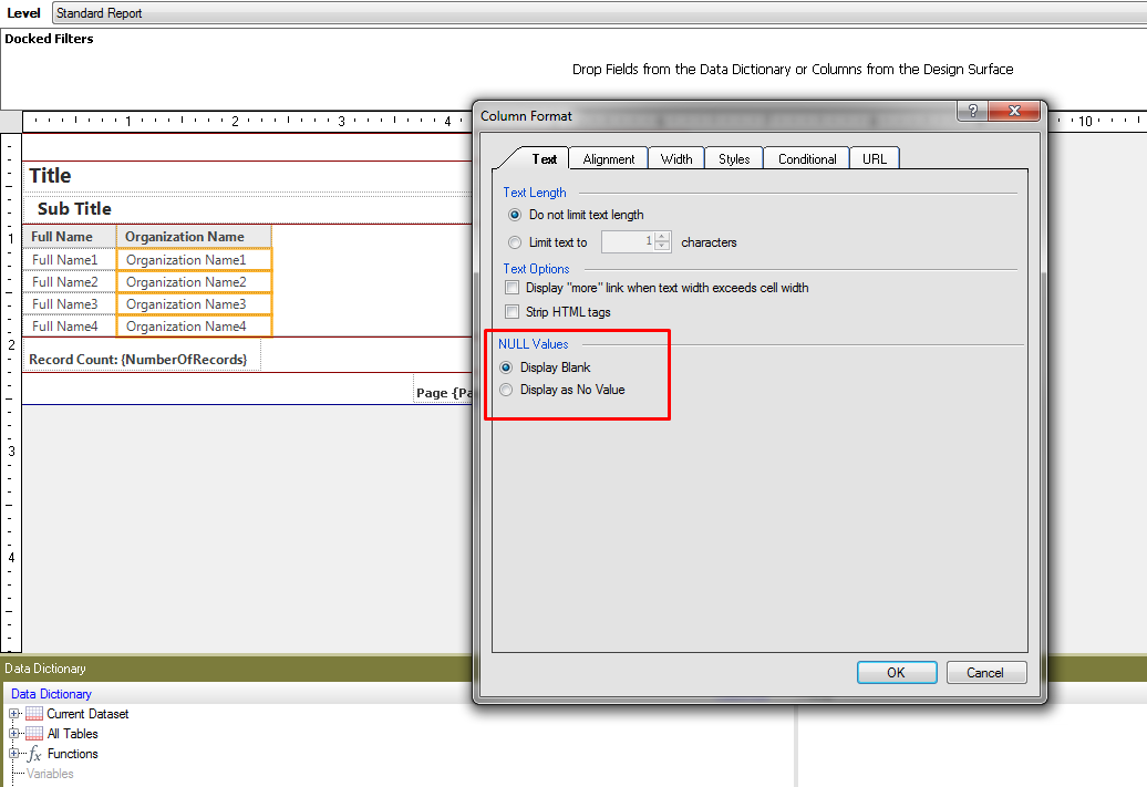 Column Format window > Text tab > NULL Values > options: Display Blank or Display as No Value