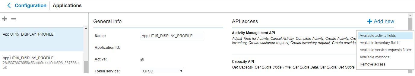 Configuração> Aplicativo>Selecione o Aplicativo no lado esquerdo > Acesso à API > Activity Management API > Clique em Campos de atividade disponíveis