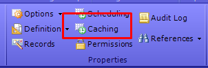 Click Caching button from Properties section of the ribbon