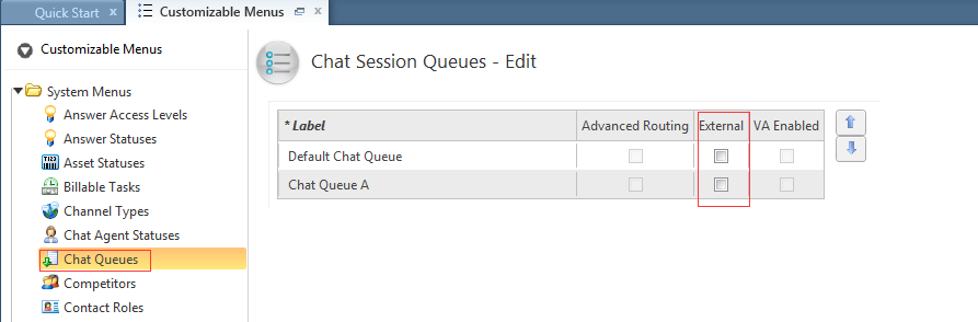 From Customizable Menus, expand the System Menus and click on Chat Queues. Confirm if the External column checkbox is enabled or disabled for any of the queues.