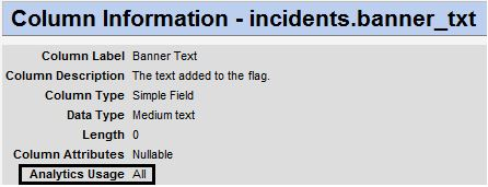 Column Information for incidents.banner_txt field shows Analytics Usage equals All
