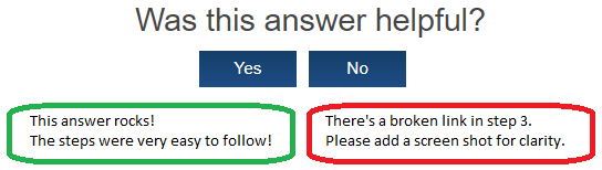 Was this answer helpful?  Yes and No options allow for feedback.
