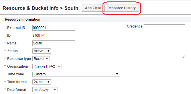 Resource screen > Resource History button