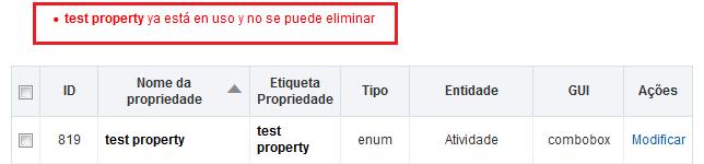 Configuración > Propiedad. Error 'test property ya está en uso y no se puede eliminar'