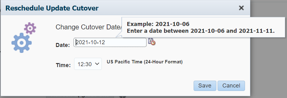 Change date and time of cutover