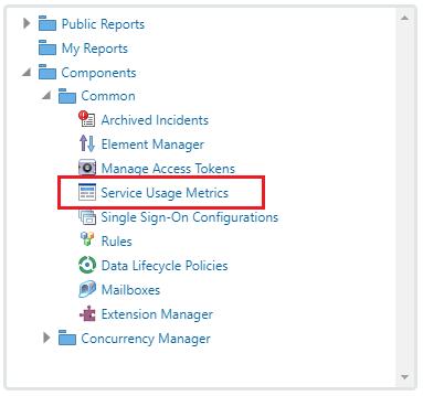 Service Usage Metrics added to Navigation menu
