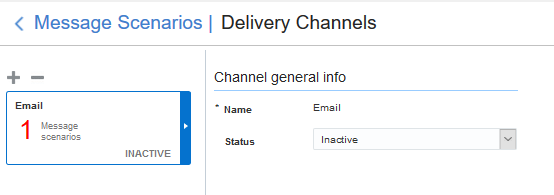 Message Scenarios > Channels. Email channel is displayed