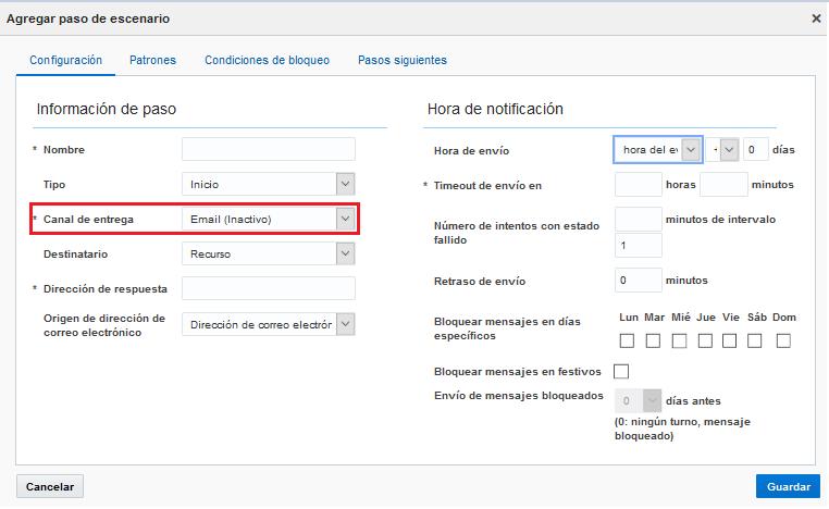 Configuración > Escenarios de mensajes > Agregar paso de escenario. El campo Canal de Entrega muestra 'Email (Inactivo)'