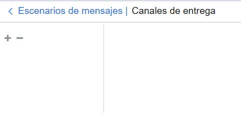 Escenarios de mensajes > Canales. El canal Email no se muestra