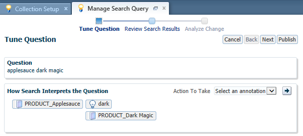 Tuning for the query applesauce dark magic is shown, with the interpretation including concepts PRODUCT_Applesauce and PRODUCT_Dark Magic.