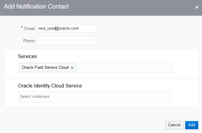 Oracle Field Service Cloud is selected under Services field.