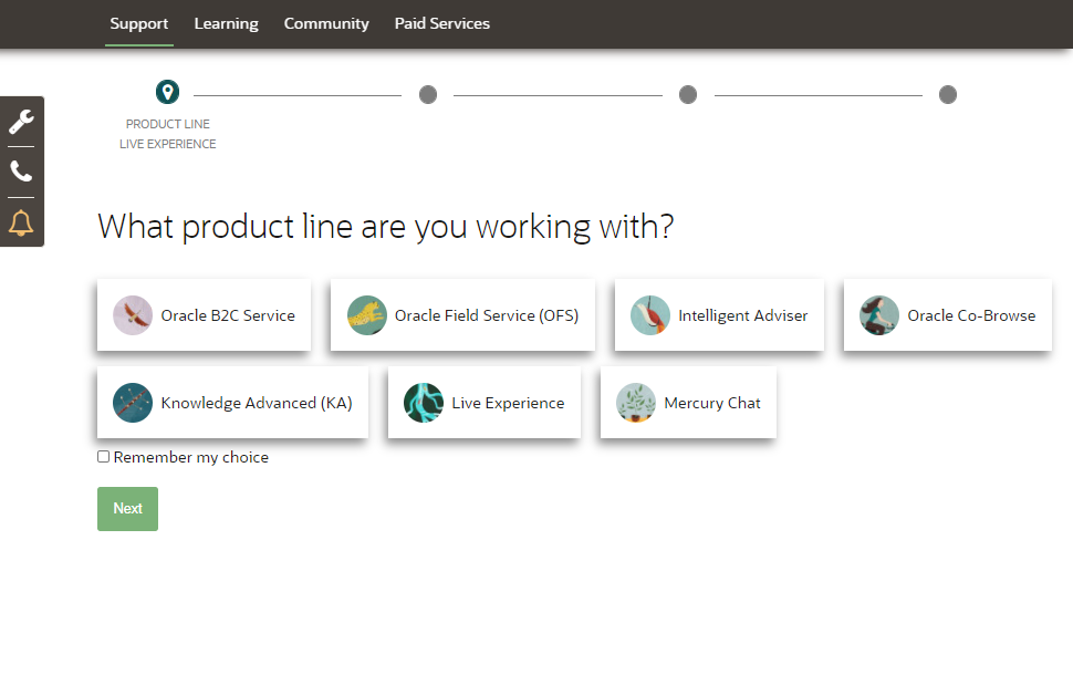 Select a product area when submitting a service request